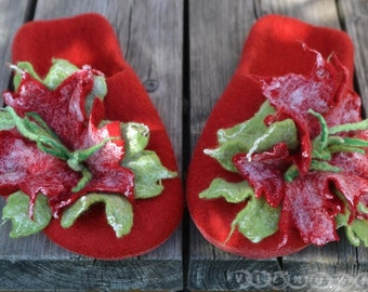 felted womens slippers with flowers
