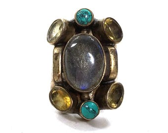 Labradorite & Sterling Modernist Ring / Vintage BIG Multi Stone Statement Ring / Turquoise Citrine Boho Hippie Gypsy Bohemian / Size 7