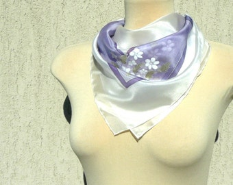 Hand painted lilac silk scarf with little white flowers - floral silk scarf