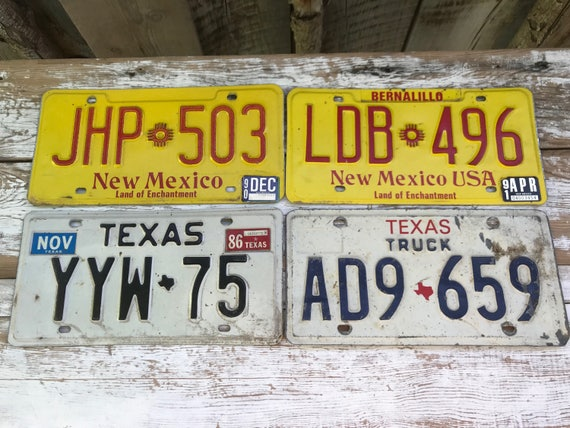 Vintage License plates/ Texas License plate/ New Mexico license ...