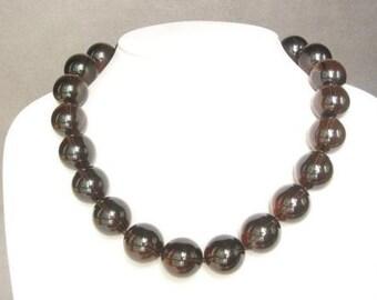 Necklace Smokey Quartz Large 18mm Round Beads NSSQ0607