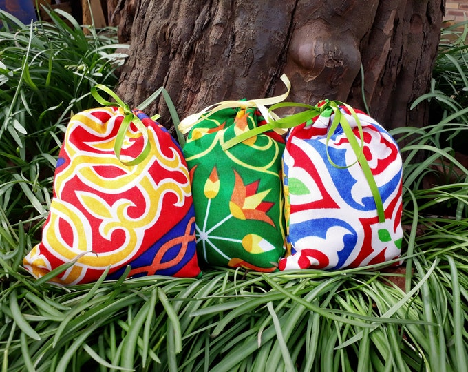 Lucky exotic fabric bag. Gifts for guests. Egypt themed party. Pouch for birthday, co-worker.