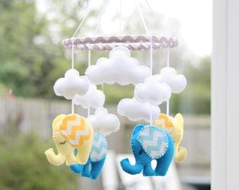 Nursery Mobile - Baby mobile -  Lemon/Brilliant Blue Chevron - Elephant Mobile -  MADE TO ORDER