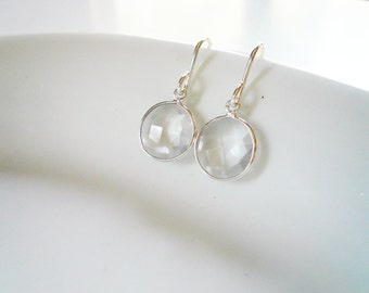 Quartz Crystal Earrings in Sterling Silver - Dainty Everyday Quartz Gemstone Earrings