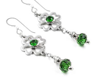 St. Patricks Day Earrings, Emerald Earrings, Shamrock earrings, Green Shamrocks, 4 leaf Clover Earrings