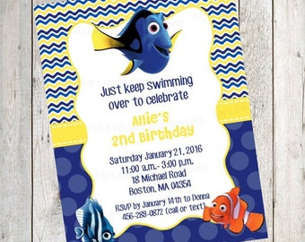 10 PRINTED Finding Dory Invitations with Envelopes.  Free Return Address Labels