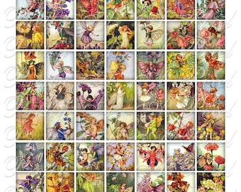 Flower Fairies - 2 sizes - Inchies AND .75 x .83 inch - Digital Collage Sheet - INSTANT DOWNLOAD
