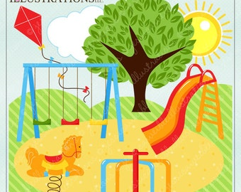 Park Play Cute Digital Clipart for Invitations, Card Design, Scrapbooking, and Web Design, Park Clipart