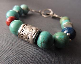 Turquoise Bracelet, Silver Elephants, Animal Jewelry, Stacking Bracelet, Layering Jewelry, Rustic Handcrafted, Southwestern Style, Urban