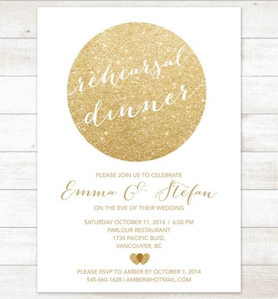 Gold weiß Probe Abendessen Einladung weiß Gold Glitter moderne