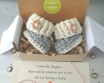 Grandparent Pregnancy Announcement, BOOTIES IN A BOX® Ribbed Cuffs with Wood Buttons, Newborn Baby Booties,  Custom Message, Ready To Ship