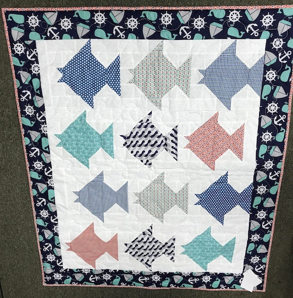 Nautical Baby Quilt Fishing Anchor Blue Fish Boating Whale Quilted Handmade Sea Lover Crib Quilt