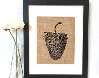 Strawberry Burlap Print // Rustic Home Decor // Kitchen Decor