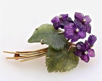 Art & Crafts Period Suffragette Purple Flower Bouquet Brooch Pin of Carved Amethyst, Diamond, Jade, Nephrite