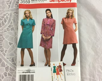 Simplicity 3559 Sewing Pattern Misses' Dress in Two Lengths Size 14-22 / plus size / 1960s Retro design / shift dress with darts
