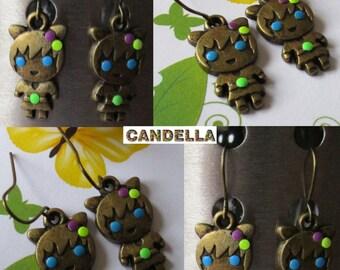 Jewel earring  colorful earrings pierced bronze girl with rhinestones blue neon yellow orange