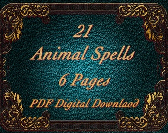 21 Animal Spells, PDF Download, Witchcraft, BOS Pages