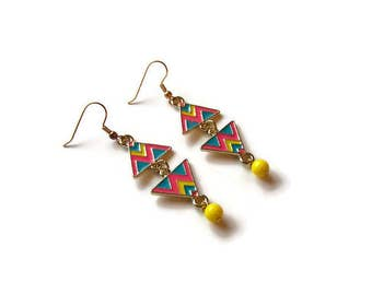 CLEARANCE...Colorful Aztec Triangle Earrings