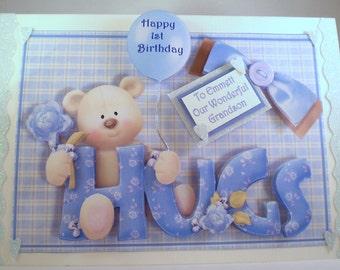 Boys First Birthday Card, cute teddy, handmade,grandson,3D, son,Personalise