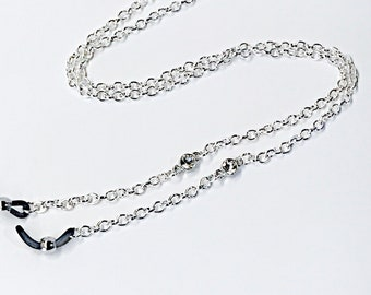 Silver Crystal Eye glasses Chain, EyeGlasses chain strap, Sunglasses reading Chain strap, Eye Glass Chain, simple dainty chain, Mother's Day