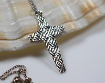 Etched Silver Cross Pendant on Silver Chain Necklace Style 2