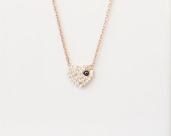 Heart Necklace, in a Beautiful Rose Gold Over Sterling Silver With Cubic Zirconia and Safe to Get Wet • Exclusive Heart Design on Etsy
