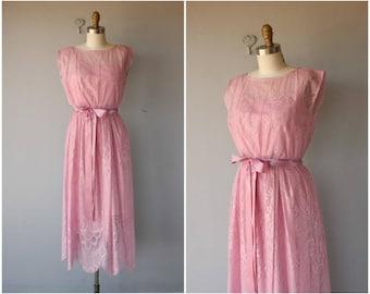 1970s Dress | 70s Dress | Pink Lace Dress | 1970s Midi Dress | 70s Bohemian Dress  | 70s Party Dress | 1970s Cocktail Dress - (small)