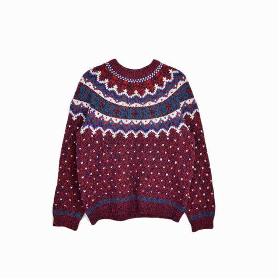 Vintage Woolrich Fair Isle Sweater in Red & Teal / Winter Wool Sweater - women's medium
