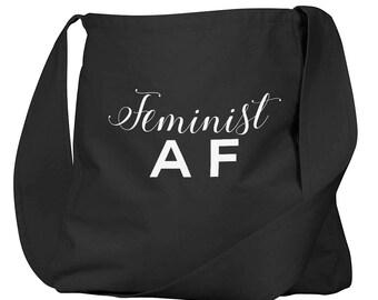 Feminist AF Black Organic Cotton Slouch Bag