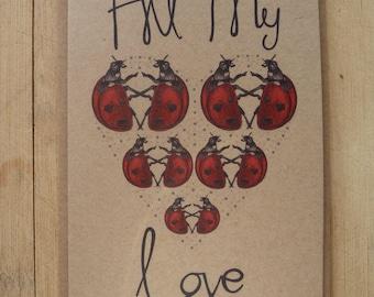 All My Love greetings card with kraft envelope, 10.5 x 15cm, blank inside, ladybird card, anniversary card, valentines card, love card