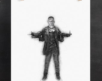 Punisher Art Print: Frank Castle (Marvel Inspired Superhero Digital Pencil Sketch)