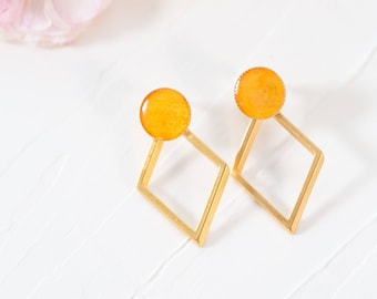 Yellow Earrings, Gold Rhombus Earrings, Large Stud Earrings, Boho Earrings, Gold Plated Earrings, Large Earrings for Women, Unique Earrings
