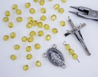 60 Acrylic Yellow Beads for Rosary Making - 6mm Round Faceted Yellow Transparent Prayer Beads for Five Decade Rosary (AB05)