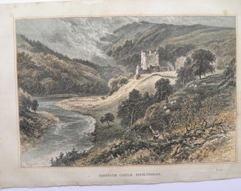 Nedpath Castle Scotland by WH Boot  Antique Print Engraving 1884