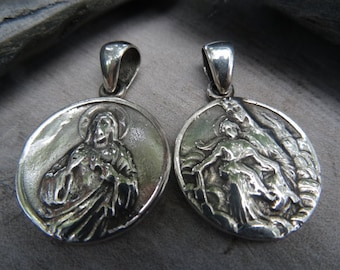 Sterling silver double sided medallion. Holy Family Medallion.