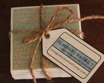 Ceramic tile coasters with summer words, Drink Coasters, Table Coasters, Beverage Coasters, Home decorations, gift idea