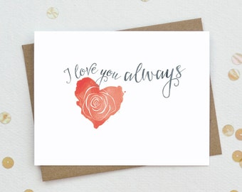 I love you card - Valentines Day card - Relationship card - Romantic Card - Anniversary Greeting Card - Red Heart Love Card - LV11