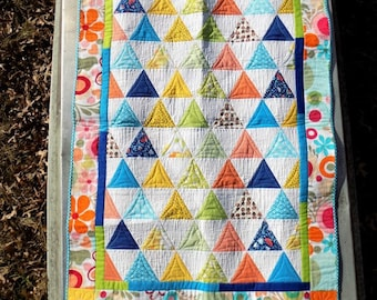 Scrappy Baby Crib Quilt, Bright Modern Triangle Floral Baby Quilt, OOAK Happy, Colorful Wall Quilt