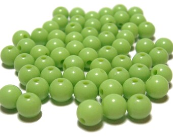 6mm Smooth Round Acrylic Beads in Light Olive Green 100pcs