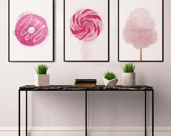 Candy Print, Kitchen Decor, Party Decor, Set of 3 Prints, Candy Art, Pink Decor, Cotton Candy Print, Living Room Wall Art, Kitchen Wall Art