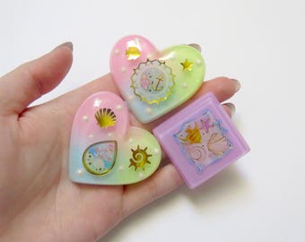 Resin Cabochons - Kawaii Cabochons - Mermaid Cabs - Silicone Whip Case - Decoden Cabochons - Pastel Cabochons - Heart Cabochons - Sea