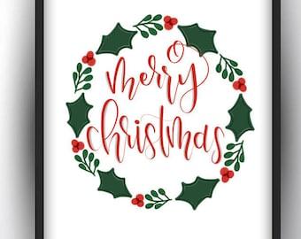 Christmas Printables/ Merry Christmas Printables/ Holiday Prints/ Hand Lettered Christmas Print/ Christmas Decor/ Christmas Wall Art/ Holly
