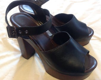 Chunky High Heel Sandals/Platform leather black platform heels tops/Boho/Black Leather / Manmade