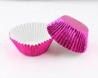 50 Pink Foil Cupcake Liners, Baking Cups, Greaseproof, Professional Grade