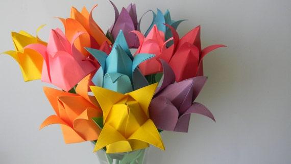 Origami Tulip Arrangement 12 Stems Of In Rainbow Color