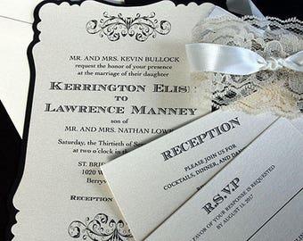 Adult Invitation, Wedding Invitation, Lace Wedding Invitation Bridal Shower Invitation, Romantic Wedding Invitation