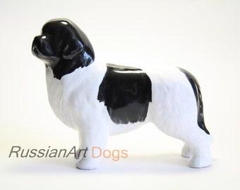 Newfoundland Landseer dog   ceramic figurine handmade statue, statuette