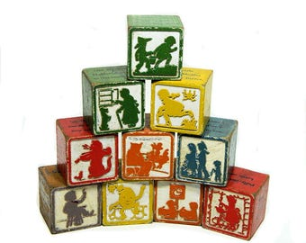 Ten Wood Nursery Rhyme Children's Blocks