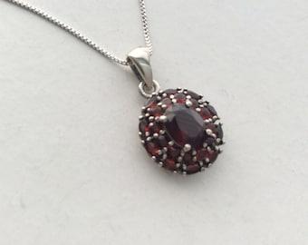 Natural Gemstone - Genuine Garnet Sterling Silver Pendant Necklace