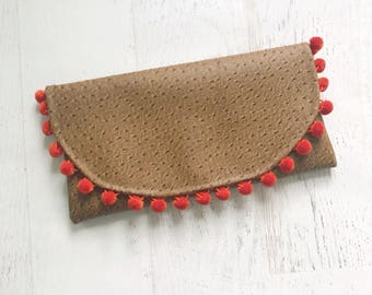 Pom-Pom Faux Ostrich  Summer Foldover Clutch - Gift for her, Birthday, Anniversary, Bridesmaid